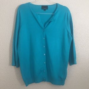 Cynthia Rowley Teal Three Quarter Sleeve Cardigan
